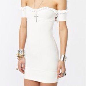 For Love & Lemons Caliente white dress pom poms
